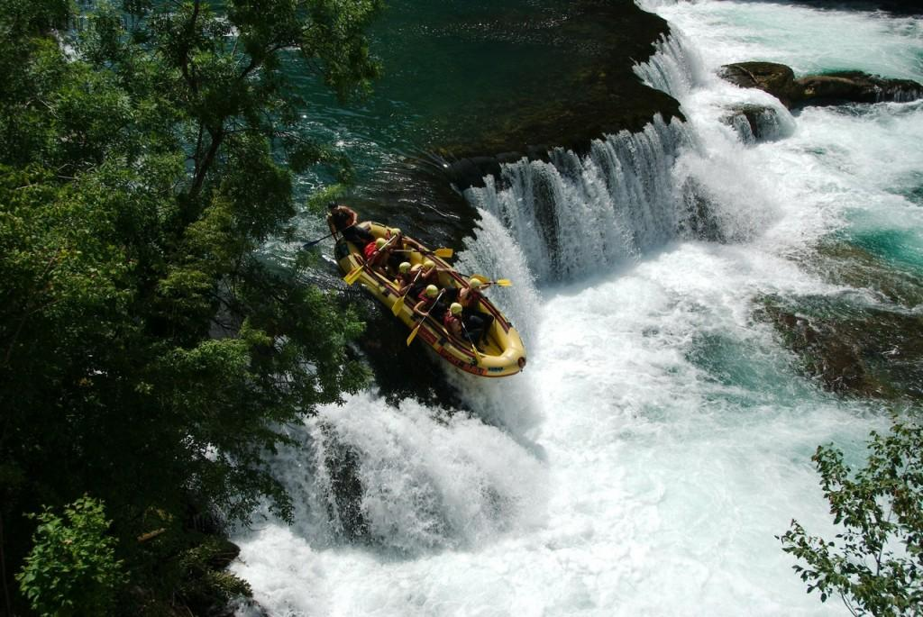 Bosnia and Herzegovina, Rafting on the Una River, Strbacki Buk waterfall.